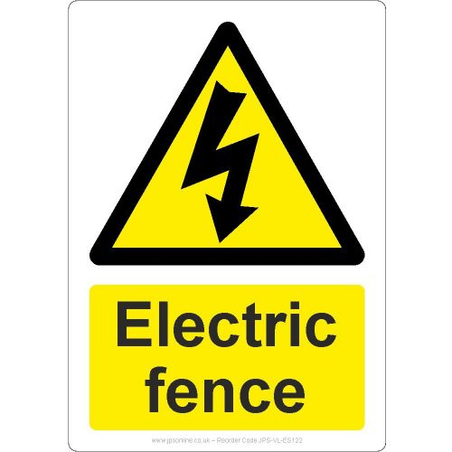 Electric fence safety sign