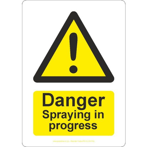 Danger spraying in progress sign