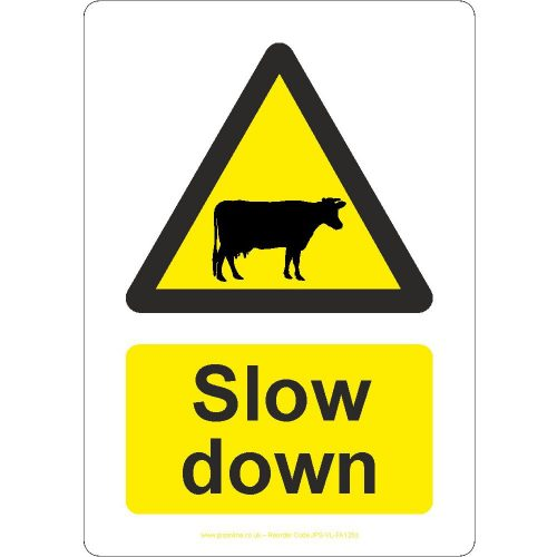 Slow down cattle sign