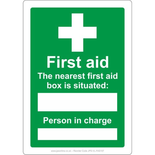 Nearest first aid box is situated at and the person in charge sign