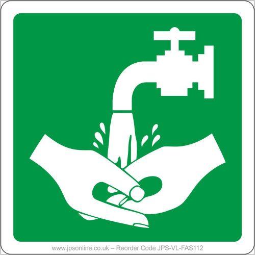 Emergency hand wash sign