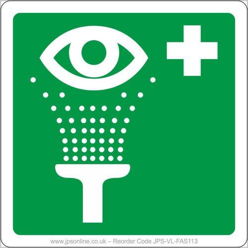 First aid emergency eye wash sign
