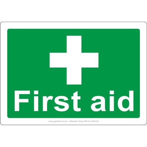 RIGID PLASTIC PACK OF 4 FIRST AID SIGN  100mm X 150mm