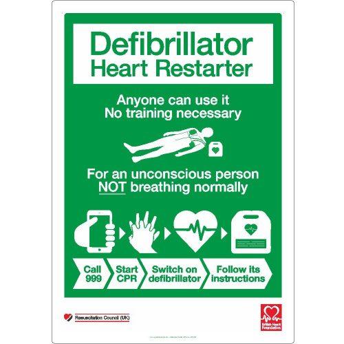Defibrillator heart restarter sign