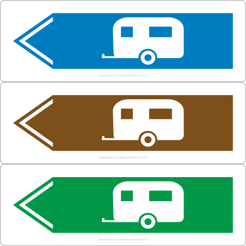 Caravan sign pointing to the left