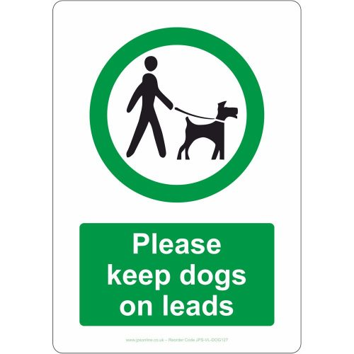 Please keep dogs on leads sign