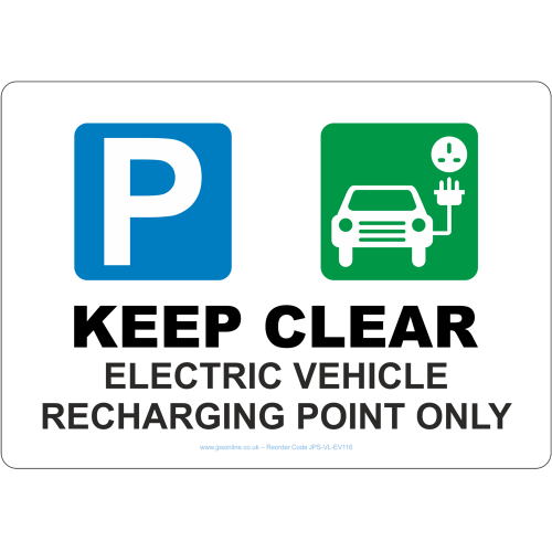 keep clear electric vehicle recharging point only sign