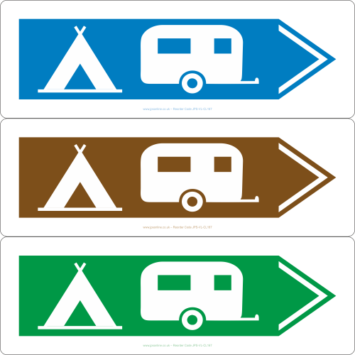 Caravan and camping sign pointing to the right